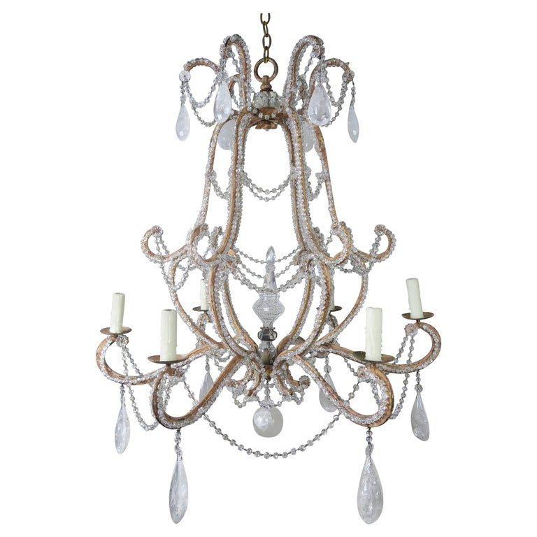 Rock Crystal Beaded Frame Chandelier with Beaded Garlands, Mid-20th Century For Sale