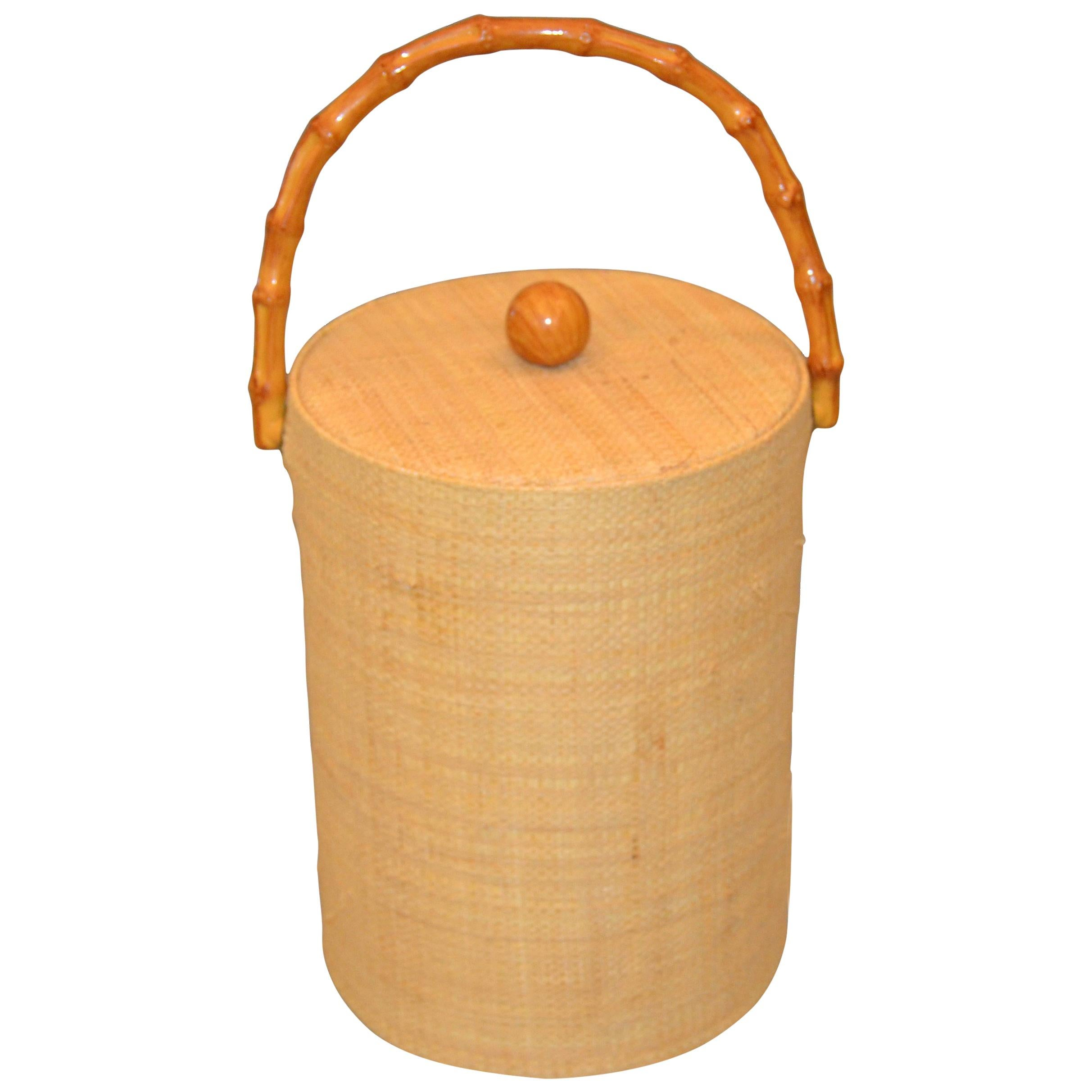 Mid-Century Modern Handwoven Cane & Bamboo Insulated Ice Bucket with Lid