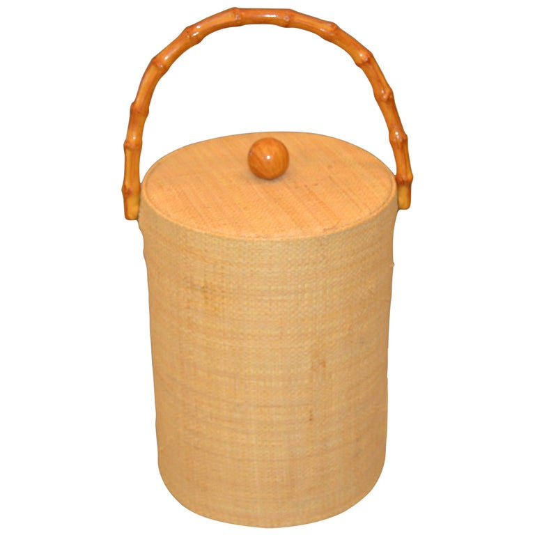 Mid-Century Modern Handwoven Cane & Bamboo Insulated Ice Bucket with Lid For Sale