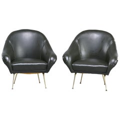 Pair Italian Midcentury Lounge Chairs in Manner of Minotti