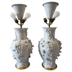 Pair of Large Chinese Blanc De Chine Porcelain Vase Lamps, Applied Flowers