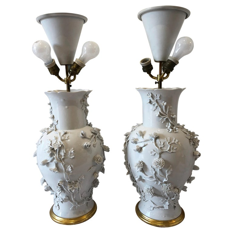 Pair Of Large Chinese Blanc De Chine Porcelain Vase Lamps