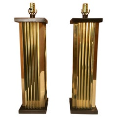 1970s Pleated Brass and Wood Table Lamps