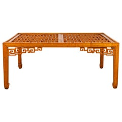 Chinese Elmwood Square Coffee Table with Open Fretwork and Horse-Hoof Legs