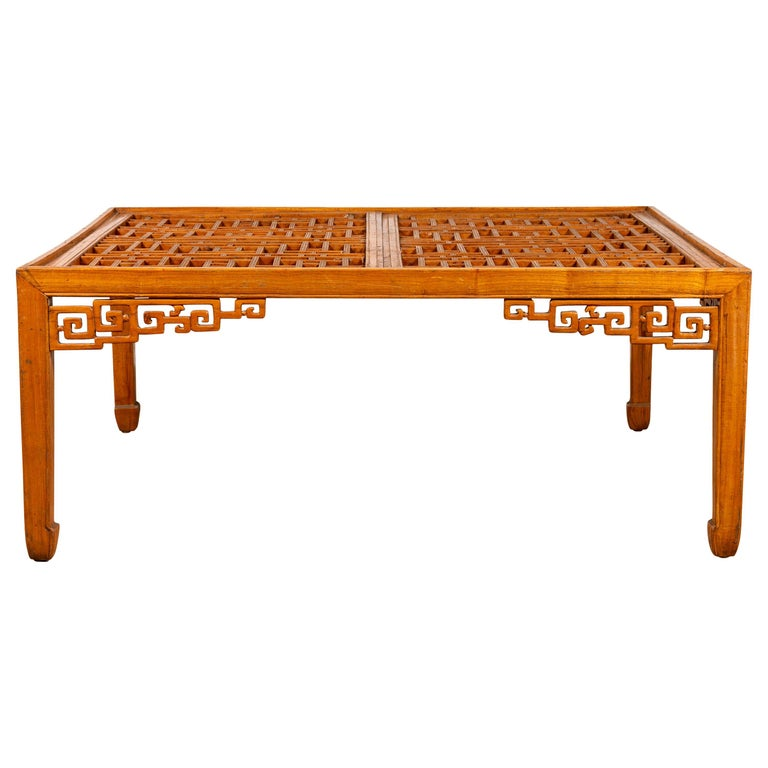 Fretwork Coffee Table.Chinese Elmwood Square Coffee Table With Open Fretwork And Horse Hoof Legs