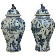 Large Pair of Blue and White Chinese Vases