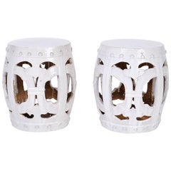 Pair of White Chinese Garden Seats