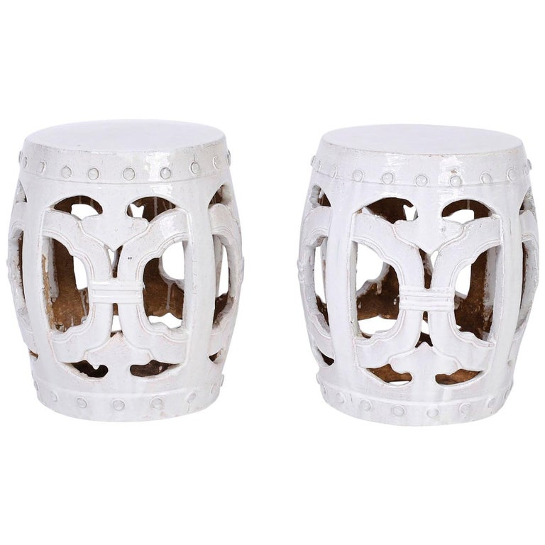 Pair of White Chinese Garden Seats For Sale
