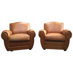 Italian Leather Club Chairs with Studded Back