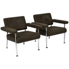 Chrome and Ultrasuede Vintage Modernist Armchairs
