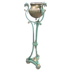 19th Century French Iron and Brass Planter on Stand