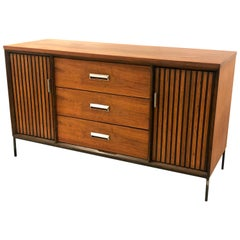 American Mid-Century Modern Small Walnut Credenza on Iron Base