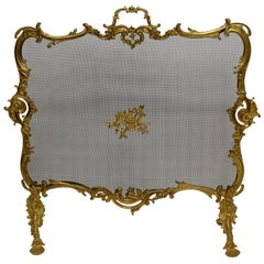 Rococo Style Gilt Brass Fireplace Screen