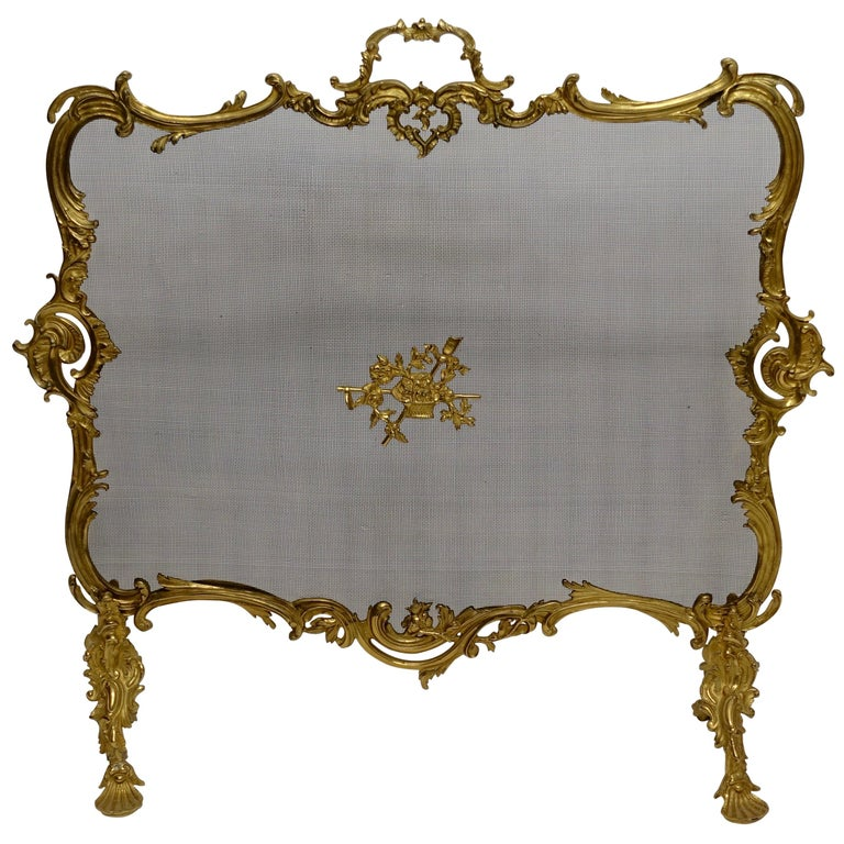 Rococo Style Gilt Brass Fireplace Screen For Sale