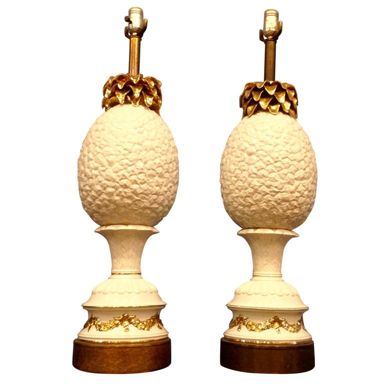 "Pair of Enormous ""Pineapple"" Lamps For Sale"