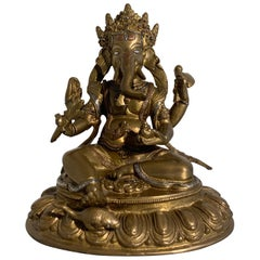 Nepalese Cast Copper Ganesha with Silver and Copper Inlay, Late 20th Century