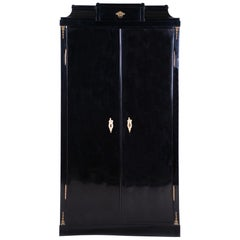 19th Century Black Empire Austrian Double-Door Bookcase, Vien, Pear wood