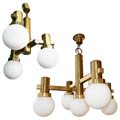 Pair of Midcentury Brass and Opaline Glass Sciolari Style Chandeliers, 1960s