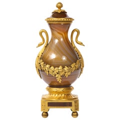 Rare Louis XVI Russian Ormolu Mounted Agate Vase with Dore Bronze Swan Handles