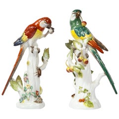Pair of Meissen Porcelain Figures of Parrots with Cherries, Insects and Flowers