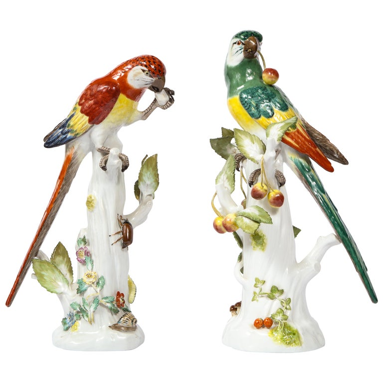 Pair of Meissen Porcelain Figures of Parrots with Cherries, Insects and Flowers For Sale