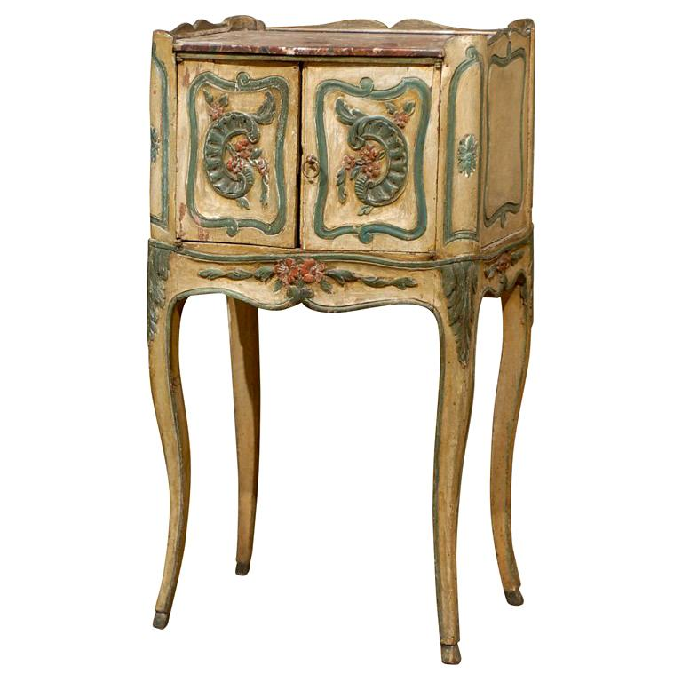 18th Century French Louis XV Painted Chevet For Sale