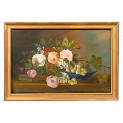 Framed French Oil on Canvas Painting of Flowers, circa 1910