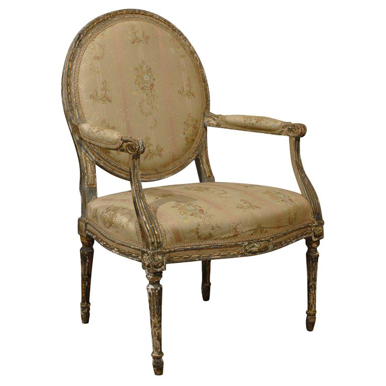 French Louis XVI Period Late 18th Century Painted and Carved Wooden Fauteuil For Sale