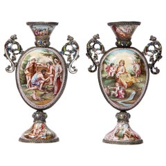 Pr. Viennese Enamel on Silver Vases with Mythological Scenes Signed Hallmarks HB