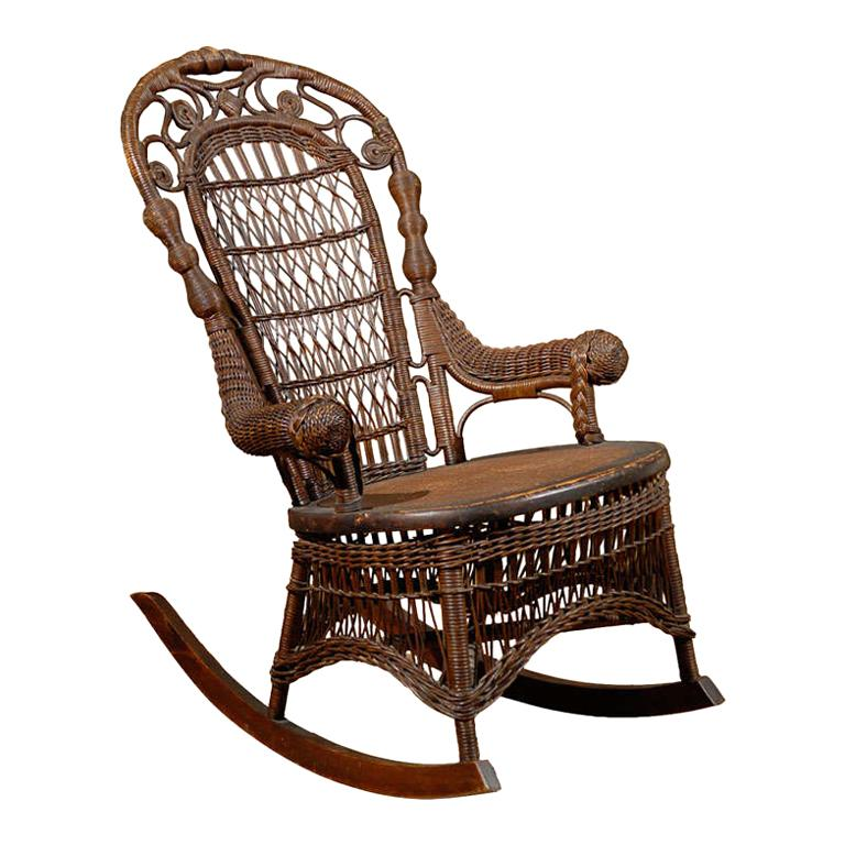19th Century Small Wicker Rocker from England For Sale