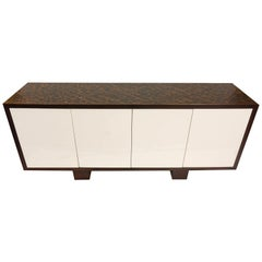 Modern Credenza with Push-Open Doors and Textured Finish