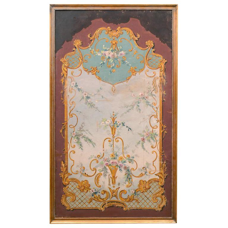 19th Century French Aubusson Style Floral Painted Panel