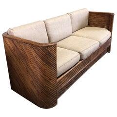Mid Century Gabriella Crespi Style Italian Bamboo Sofa