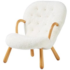 Philip Arctander Sheepskin Clam Chair, 1950s