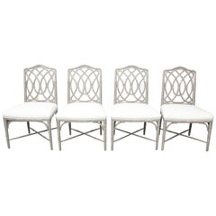 Set of 4 Gray Faux Bamboo Dining Chairs