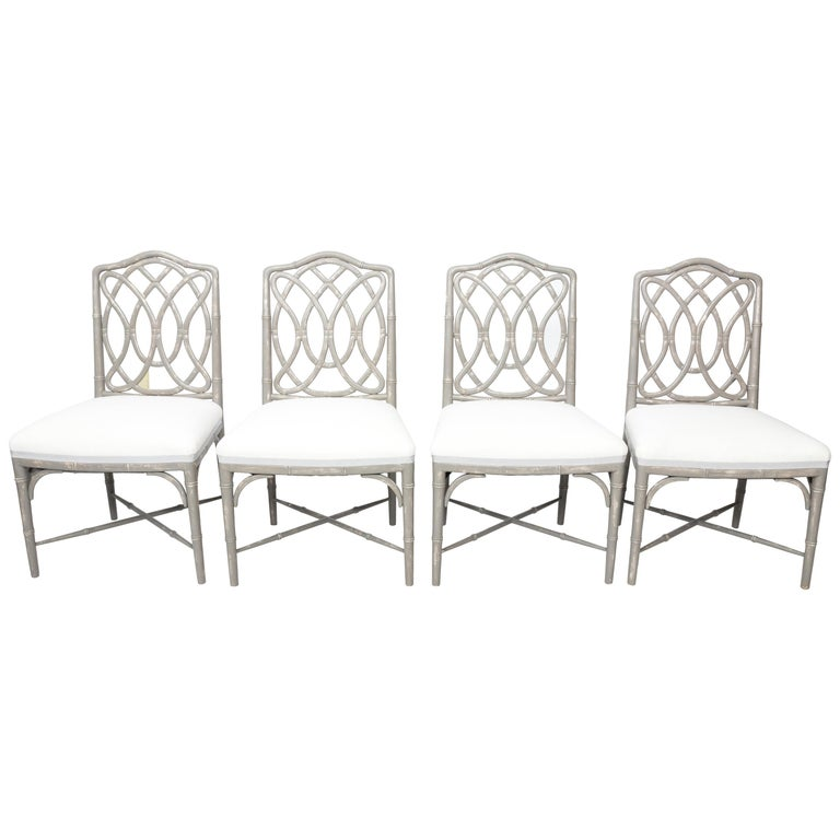 Set of 4 Gray Faux Bamboo Dining Chairs For Sale