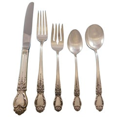 Brocade by International Sterling Silver Flatware Set 12 Service 62 Pcs Dinner
