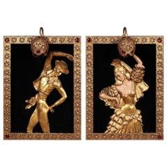 Vintage Gilt Regency Flamenco Wall Lamps Atelier de Recherché Plastique 1950s