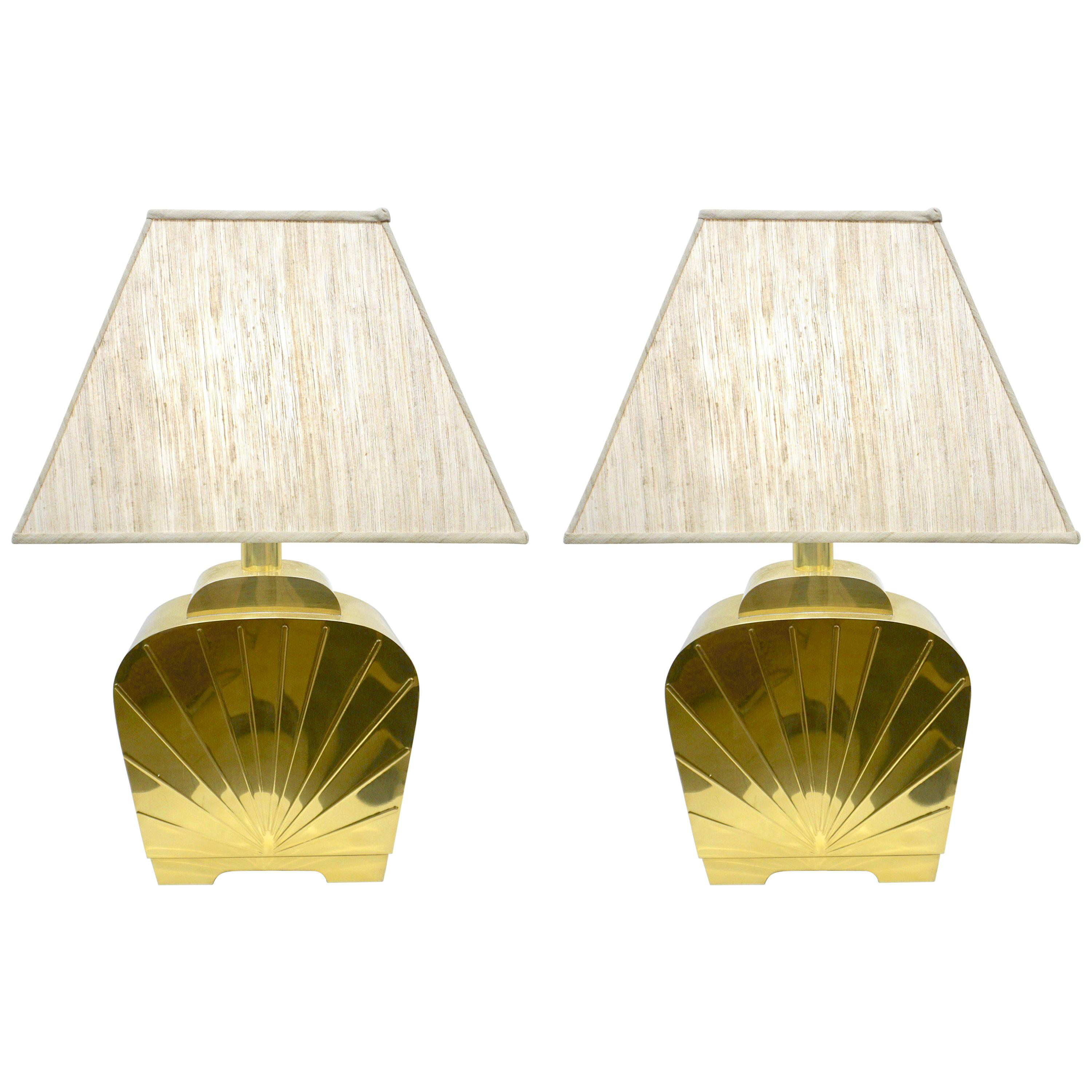 1970s Chapman Vintage Art Deco Design Pair of Hollywood Regency Gold Brass Lamps