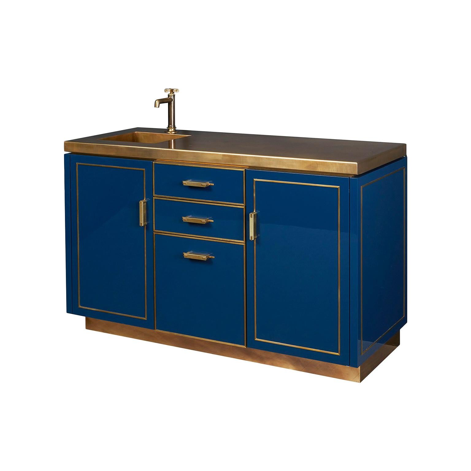 Amuneal's Lacquer Bar Cabinet with Brass Countertop