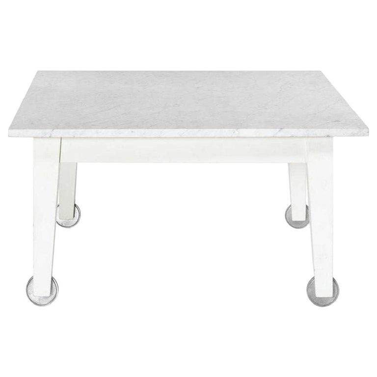 Philippe Starck Delano Carrara Marble White Coffee Table, Casters, Postmodern For Sale
