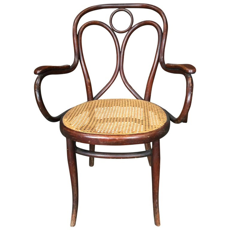 Midcentury Thonet Bistro Bentwood Armchair For Sale