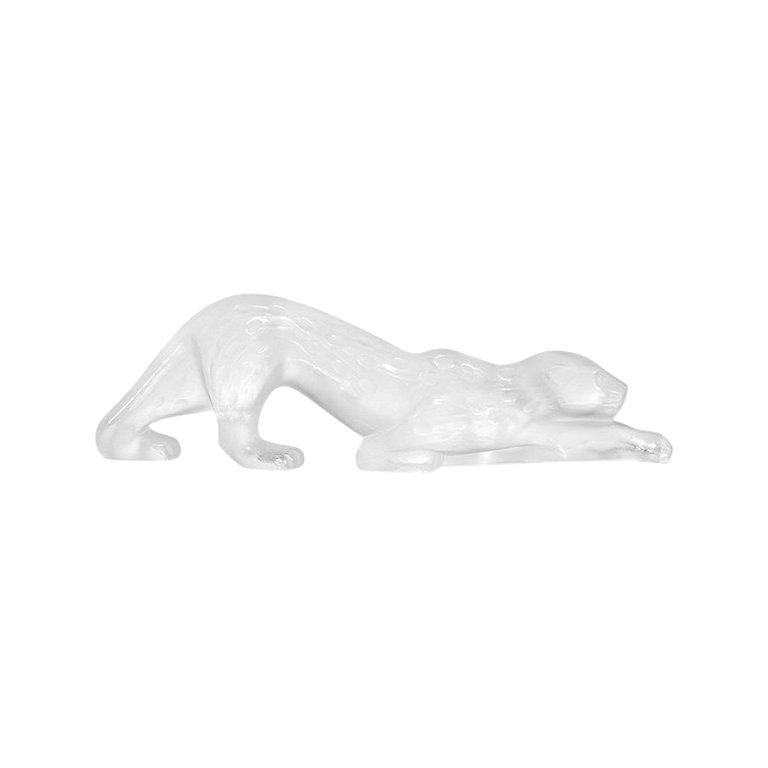 For Sale: Clear Small Zeila Panther Sculpture in Crystal Glass by Lalique 2