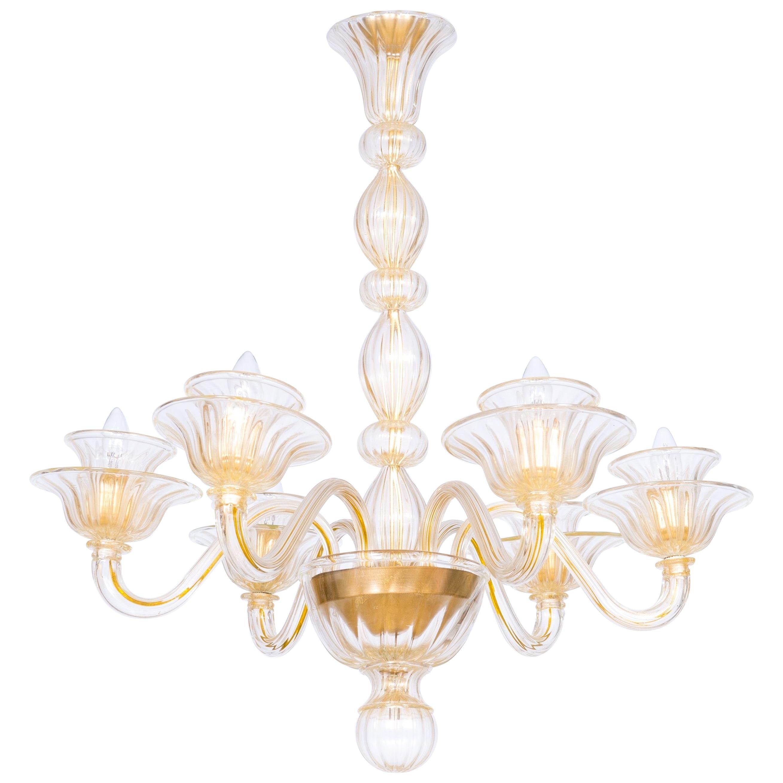 Italian Venetian, Sphere Chandelier, Blown Murano Glass, Handcrafted, Gold