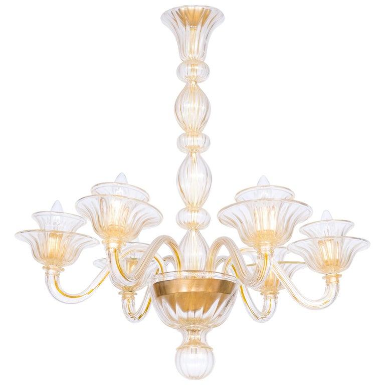 Italian Venetian, Sphere Chandelier, Blown Murano Glass, Handcrafted, Gold For Sale