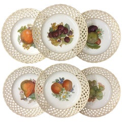 Set of Six KPM Fruit Reticulated Plates