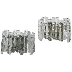 Pair of Kalmar Wall Lights Ice Glass,Vienna, 1960