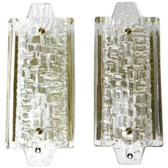 Pair of Orrefors Sconces Brass and Crystal Glass Shades by Orrefors, Sweden 1970