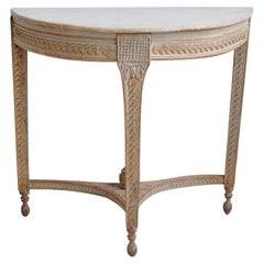18th Century Swedish Gustavian Period Demilune Console Table in Original Paint