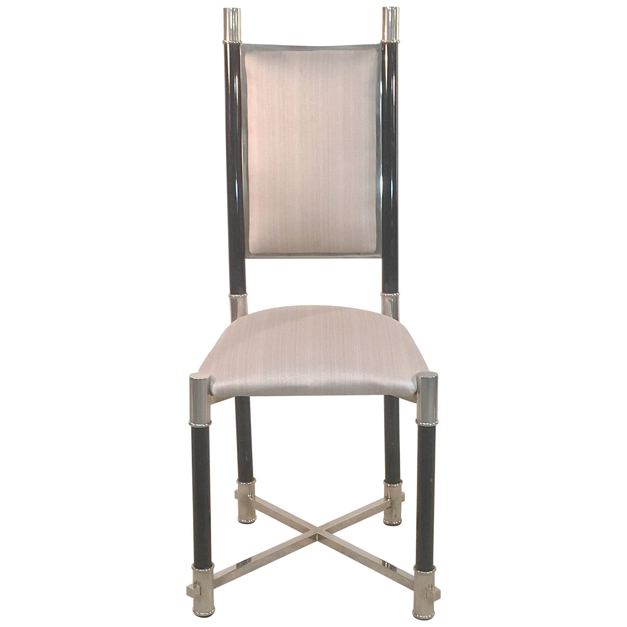 Antonio Pavia Set of Eight Dining Chairs Nickel and Lacquer